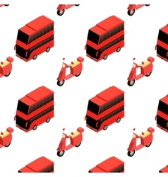 Isometric bus and moped seamless pattern vector image vector image