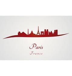Paris skyline in red vector image