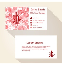 red floral and bamboo business card design eps10 vector image vector image