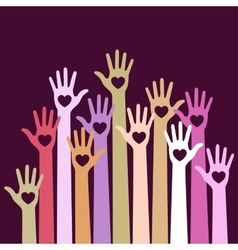 Volunteers colorful caring up hands with hearts vector image