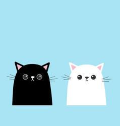 black white cute cat kitten face set cartoon vector image vector image