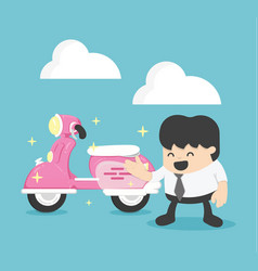 businessman with a new pink scooter vector image