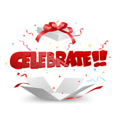 celebrate out of the box with confetti vector image vector image