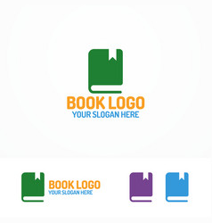 book logo set different color vector image