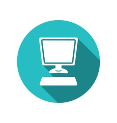 computer and keyboard flat icon with long shadows vector image vector image