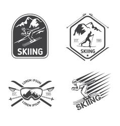 Retro skiing labels emblems and logos set vector image