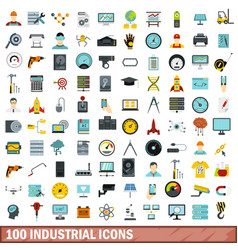 100 industrial icons set flat style vector image