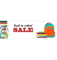 Back to school horizontal banner vector image