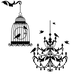Birdcage and chandelier vector image vector image