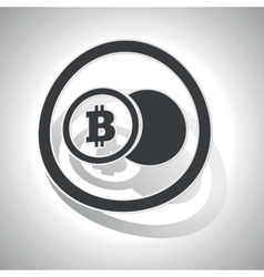 Bitcoin coin sign sticker curved vector image