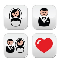 Groom and bride on round white labels vector image