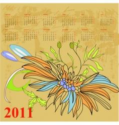 retro stylized calendar for 2011 vector image