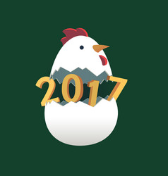rooster 2017 chinese new year flat 3d greeting vector image