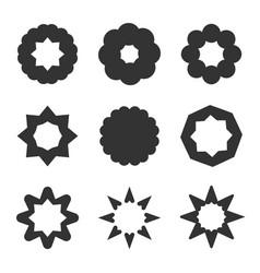 set of black geometric flowers stars and sun vector image