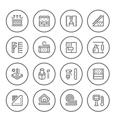 set round line icons of insulation vector image