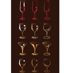 stylized glasses colorful vector image vector image