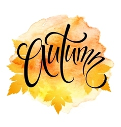 Word AUTUMN and three leaves Watercolor vector image