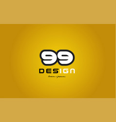 99 number numeral digit white on yellow background vector