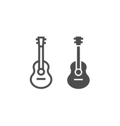 acoustic guitar line and glyph icon music and vector image