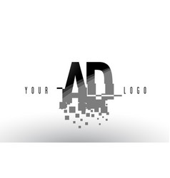 Ad a d pixel letter logo with digital shattered vector