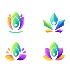 awesome colorful yoga logo design vector image