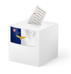 Ballot box with voting paper Azores vector image