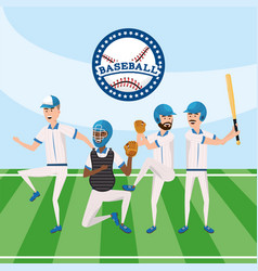 baseball professional team with uniform in the vector image