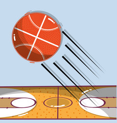 Basketball play game with ball and field vector