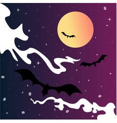 bats and spooky moon vector image