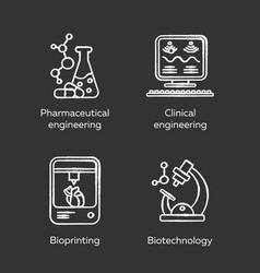 bioengineering chalk icons set medical vector image