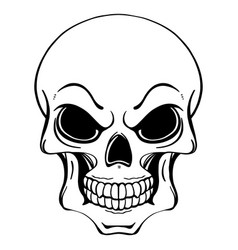 Black and white of human skull in ink vector