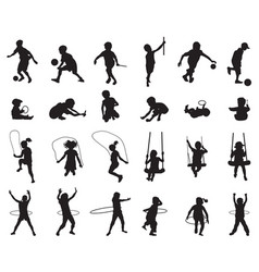 Black silhouettes playful children vector