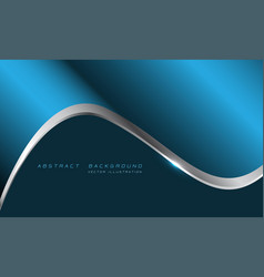 blue metallic silver line curve with blank space vector image