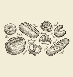 bread bakery sketch fresh pastry food set of vector image