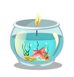 Burning candle in aquarium vector