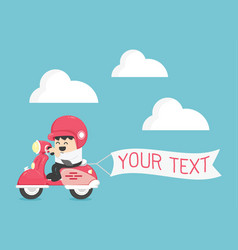 businessman on scooter have message board your vector image