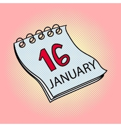 Calendar January 16 pop art vector