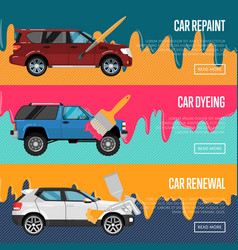 Car repaint renewal and dyeing business concept vector