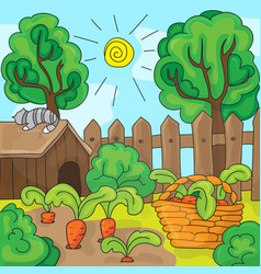 Cartoon garden with carrots vector