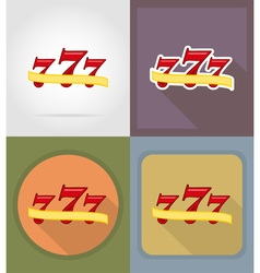 casino flat icons 03 vector image