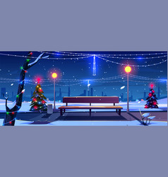 christmas in night park empty public garden view vector image