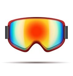 Classic snowboarding goggles with big rainbow vector