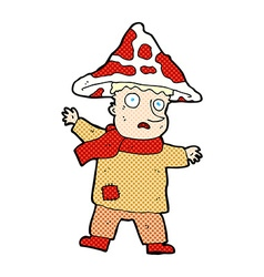 Comic cartoon magical mushroom man vector