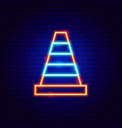construction cone neon sign vector image