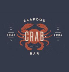 Crab seafood vintage icon crab label logo vector