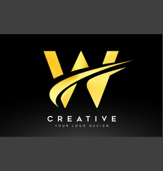 Creative w letter logo design with swoosh icon vector