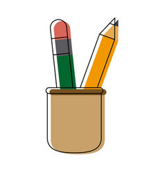 Cup with writing utensils pencil school elements vector