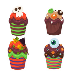 cupcake set happy halloween scary sweets vector image