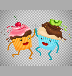 cupcakes clap hands on transparent background vector image