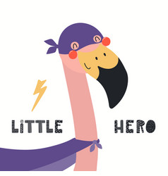 Cute flamingo superhero vector